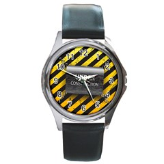 Under Construction Sign Iron Line Black Yellow Cross Round Metal Watch by Mariart