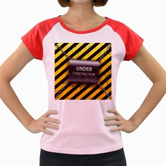 Under Construction Sign Iron Line Black Yellow Cross Women s Cap Sleeve T Shirt by Mariart