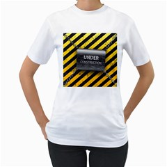 Under Construction Sign Iron Line Black Yellow Cross Women s T Shirt (white) (two Sided) by Mariart