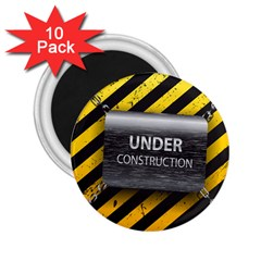 Under Construction Sign Iron Line Black Yellow Cross 2 25  Magnets (10 Pack)  by Mariart