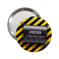 Under Construction Sign Iron Line Black Yellow Cross 2 25  Handbag Mirrors by Mariart
