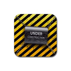 Under Construction Sign Iron Line Black Yellow Cross Rubber Coaster (square)  by Mariart