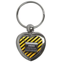 Under Construction Sign Iron Line Black Yellow Cross Key Chains (heart)  by Mariart