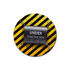 Under Construction Sign Iron Line Black Yellow Cross Rubber Coaster (round)  by Mariart