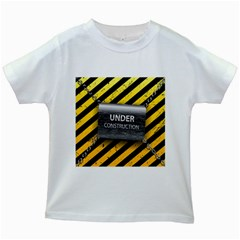 Under Construction Sign Iron Line Black Yellow Cross Kids White T Shirts by Mariart