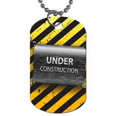 Under Construction Sign Iron Line Black Yellow Cross Dog Tag (two Sides) by Mariart