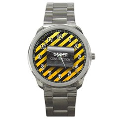 Under Construction Sign Iron Line Black Yellow Cross Sport Metal Watch by Mariart