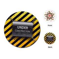 Under Construction Sign Iron Line Black Yellow Cross Playing Cards (round)  by Mariart