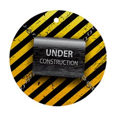 Under Construction Sign Iron Line Black Yellow Cross Round Ornament (two Sides) by Mariart