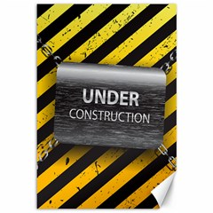 Under Construction Sign Iron Line Black Yellow Cross Canvas 12  X 18