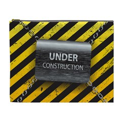Under Construction Sign Iron Line Black Yellow Cross Cosmetic Bag (xl)
