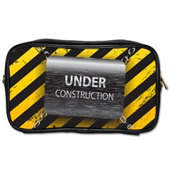 Under Construction Sign Iron Line Black Yellow Cross Toiletries Bags 2 Side by Mariart