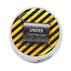 Under Construction Sign Iron Line Black Yellow Cross 4-port Usb Hub (two Sides)