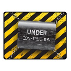 Under Construction Sign Iron Line Black Yellow Cross Fleece Blanket (small)