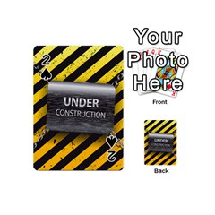 Under Construction Sign Iron Line Black Yellow Cross Playing Cards 54 (mini)  by Mariart