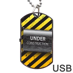 Under Construction Sign Iron Line Black Yellow Cross Dog Tag Usb Flash (two Sides) by Mariart