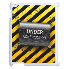 Under Construction Sign Iron Line Black Yellow Cross Apple Ipad 2 Case (white) by Mariart
