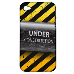 Under Construction Sign Iron Line Black Yellow Cross Apple Iphone 4/4s Hardshell Case (pc+silicone) by Mariart