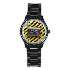 Under Construction Sign Iron Line Black Yellow Cross Stainless Steel Round Watch by Mariart