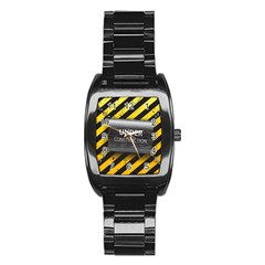 Under Construction Sign Iron Line Black Yellow Cross Stainless Steel Barrel Watch by Mariart