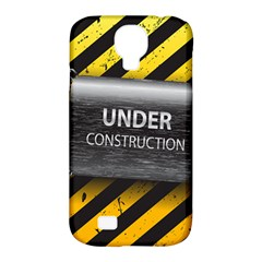 Under Construction Sign Iron Line Black Yellow Cross Samsung Galaxy S4 Classic Hardshell Case (pc+silicone) by Mariart