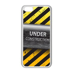 Under Construction Sign Iron Line Black Yellow Cross Apple Iphone 5c Seamless Case (white) by Mariart