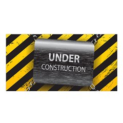 Under Construction Sign Iron Line Black Yellow Cross Satin Shawl by Mariart