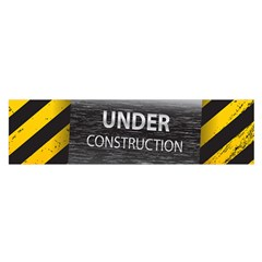 Under Construction Sign Iron Line Black Yellow Cross Satin Scarf (oblong) by Mariart