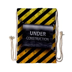 Under Construction Sign Iron Line Black Yellow Cross Drawstring Bag (small) by Mariart