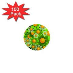 Sunflower Flower Floral Green Yellow 1  Mini Magnets (100 Pack)  by Mariart