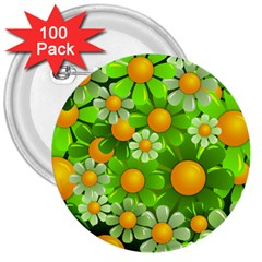 Sunflower Flower Floral Green Yellow 3  Buttons (100 Pack)  by Mariart