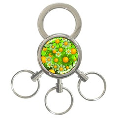 Sunflower Flower Floral Green Yellow 3 Ring Key Chains by Mariart