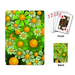 Sunflower Flower Floral Green Yellow Playing Card by Mariart