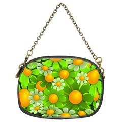 Sunflower Flower Floral Green Yellow Chain Purses (two Sides)  by Mariart