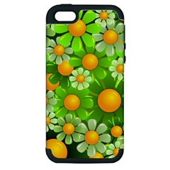 Sunflower Flower Floral Green Yellow Apple Iphone 5 Hardshell Case (pc+silicone) by Mariart