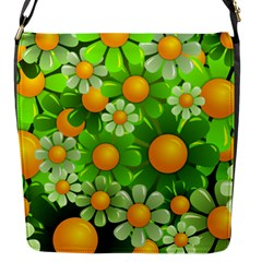 Sunflower Flower Floral Green Yellow Flap Messenger Bag (s) by Mariart
