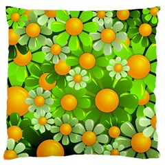 Sunflower Flower Floral Green Yellow Large Flano Cushion Case (one Side) by Mariart