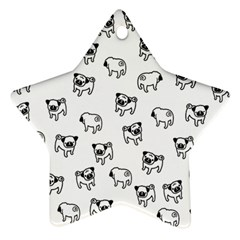 Pug Dog Pattern Star Ornament (two Sides) by Valentinaart