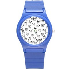 Pug Dog Pattern Round Plastic Sport Watch (s) by Valentinaart