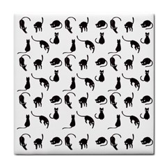 Black Cats Pattern Tile Coasters by Valentinaart