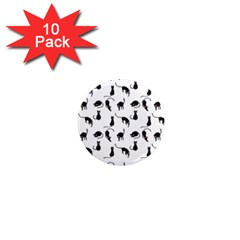 Black Cats Pattern 1  Mini Magnet (10 Pack)  by Valentinaart