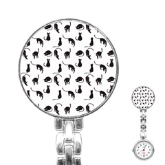 Black Cats Pattern Stainless Steel Nurses Watch by Valentinaart