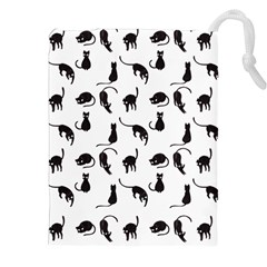 Black Cats Pattern Drawstring Pouches (xxl) by Valentinaart