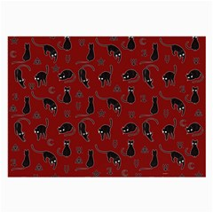 Black Cats And Witch Symbols Pattern Large Glasses Cloth (2 Side)