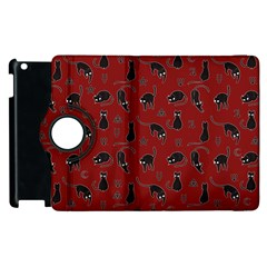 Black Cats And Witch Symbols Pattern Apple Ipad 3/4 Flip 360 Case by Valentinaart