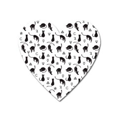 Black Cats And Witch Symbols Pattern Heart Magnet by Valentinaart
