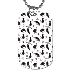 Black Cats And Witch Symbols Pattern Dog Tag (two Sides) by Valentinaart