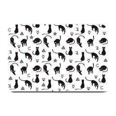 Black Cats And Witch Symbols Pattern Plate Mats by Valentinaart