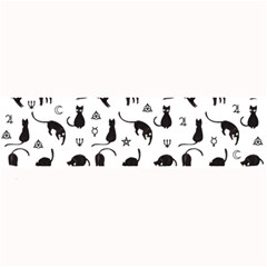 Black Cats And Witch Symbols Pattern Large Bar Mats by Valentinaart