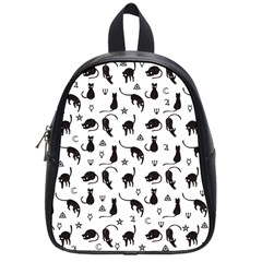 Black Cats And Witch Symbols Pattern School Bags (small)  by Valentinaart
